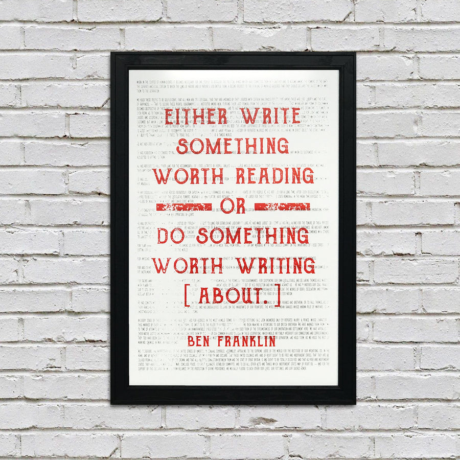 Ben Franklin Poster Art - Write Something or Do Something Motivational Art Print Orange - 13x19""
