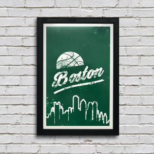 Vintage Boston Celtics Poster Art Print - 13x19""