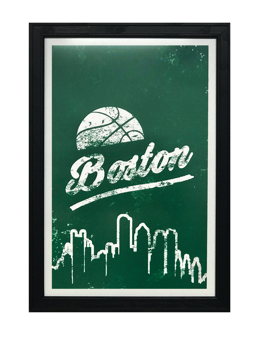 Vintage Boston Pro Basketball Art Print / Poster - 13x19""