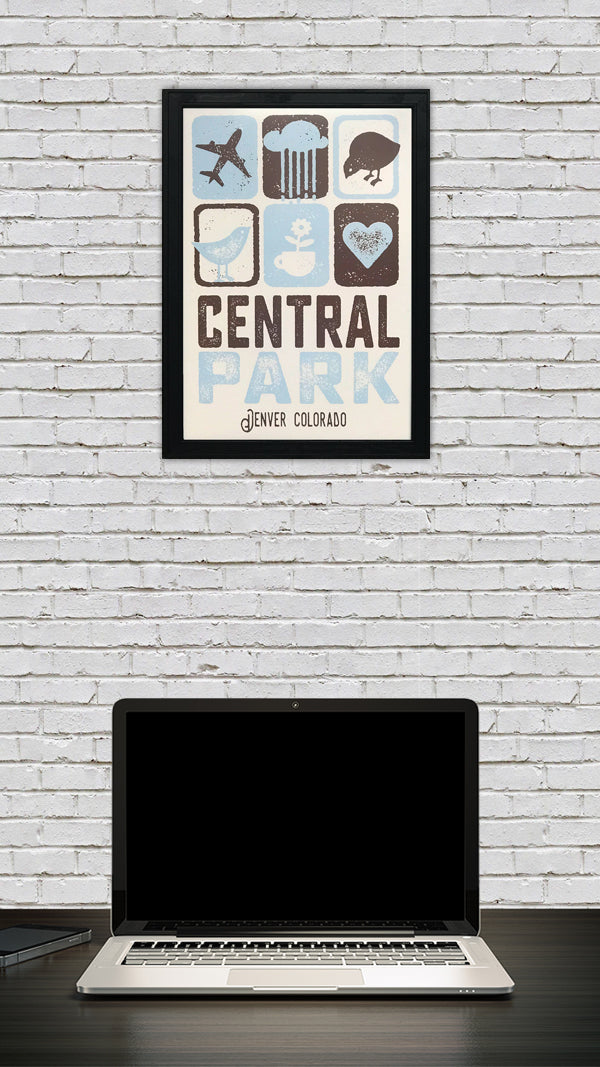 Central Park Denver Colorado Poster Art Print Powder Blue and Brown - 13x19""