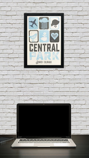 Central Park Denver Colorado Poster Art Print Powder Blue and Charcoal - 13x19""