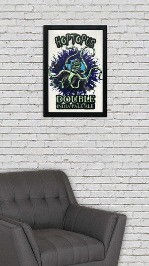 Reaver Beach Brewing Hoptopus Double IPA Craft Beer Poster - 13x19""