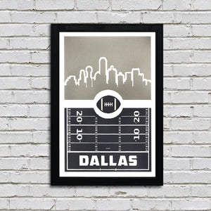 Dallas Cowboys Poster Art - Retro Video Game Print - 13x19""