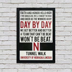 Day By Day Nebraska Cornhuskers Tunnel Walk Poster Art - 13x19""