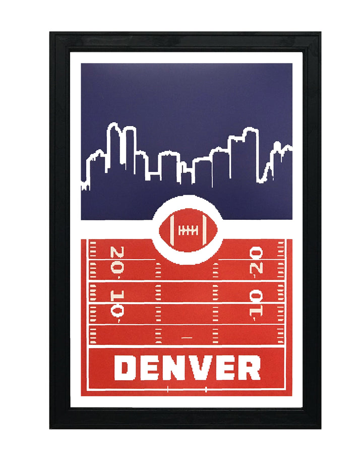 Denver Broncos Poster Art - Retro Video Game Style Print - 13x19""