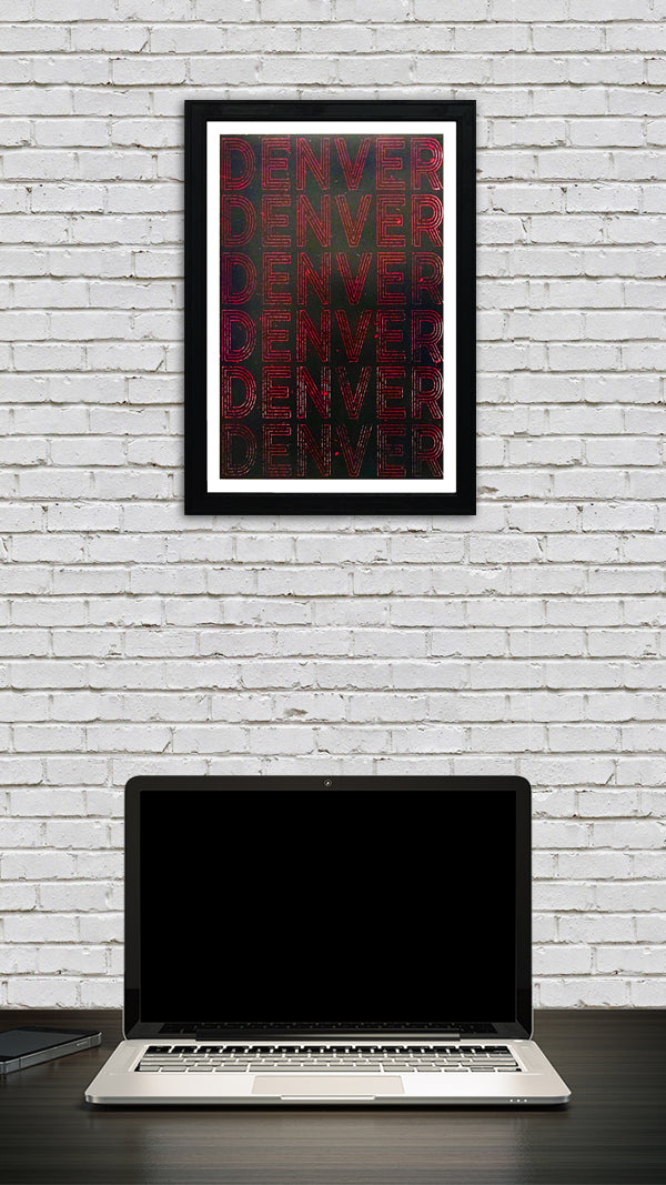 Denver Typography Poster Art - Red and Black Print - 13x19""