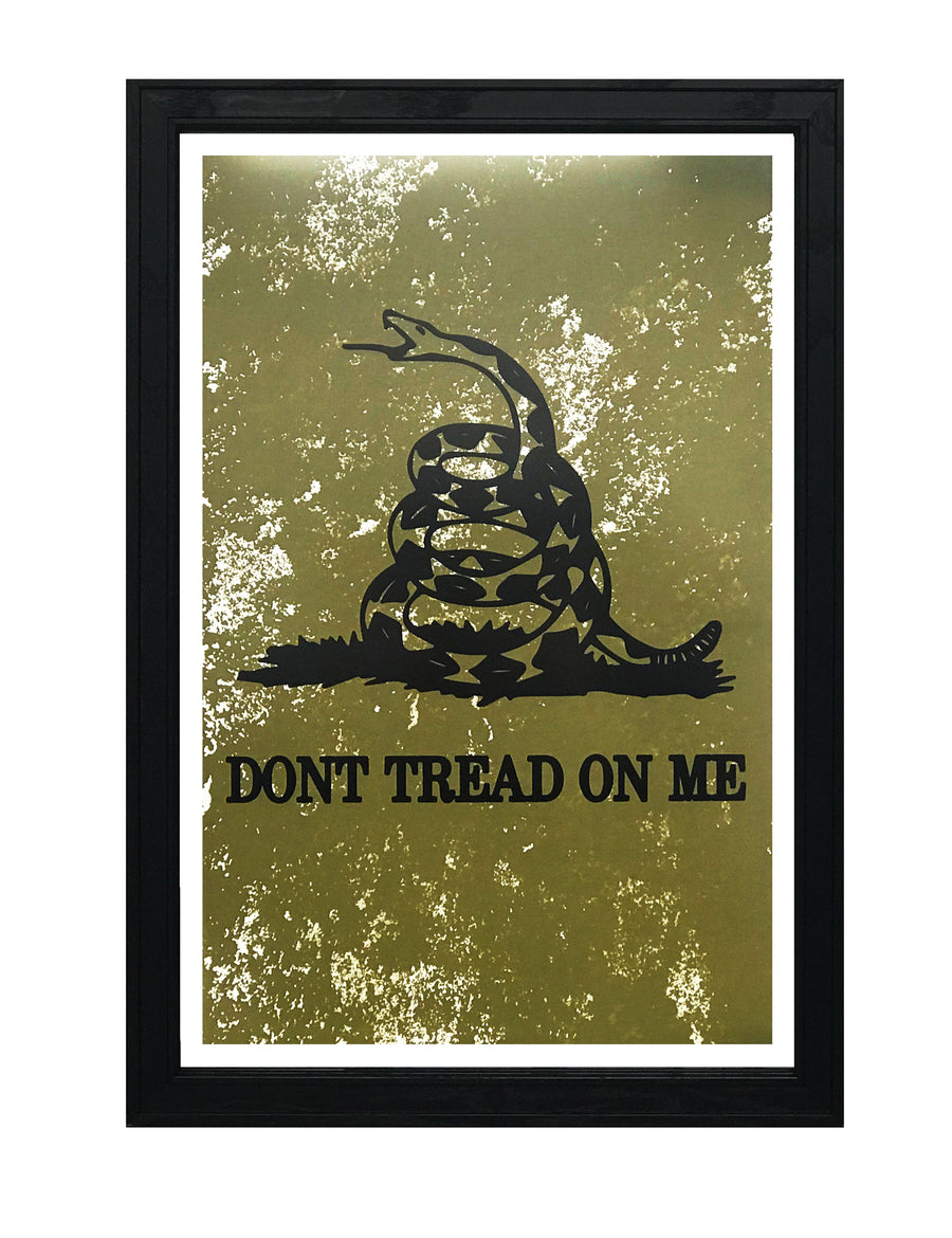Don't Tread On Me Poster Art - Distressed Print Green - 13x19""