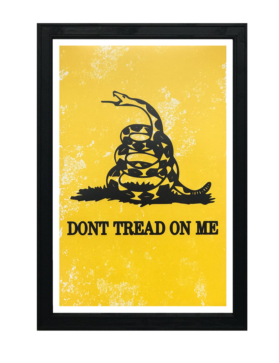Don't Tread On Me Poster Art - Distressed Yellow - 13x19""