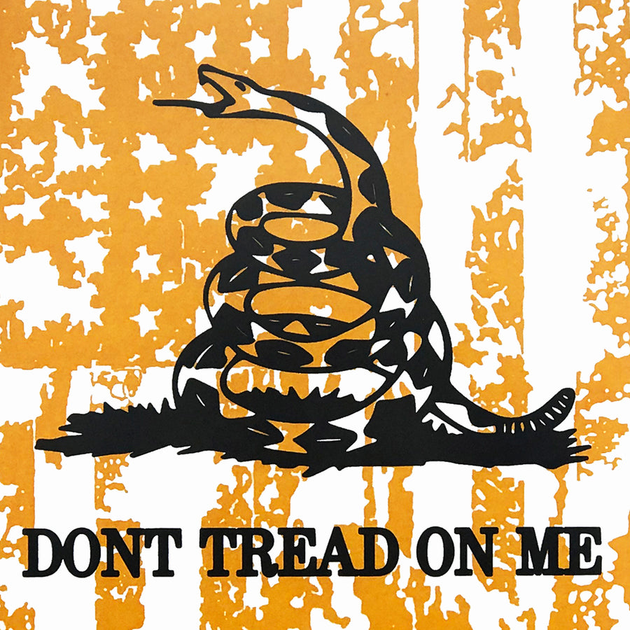 Don't Tread On Me Poster - Distressed American Flag Art Print Yellow - 13x19""