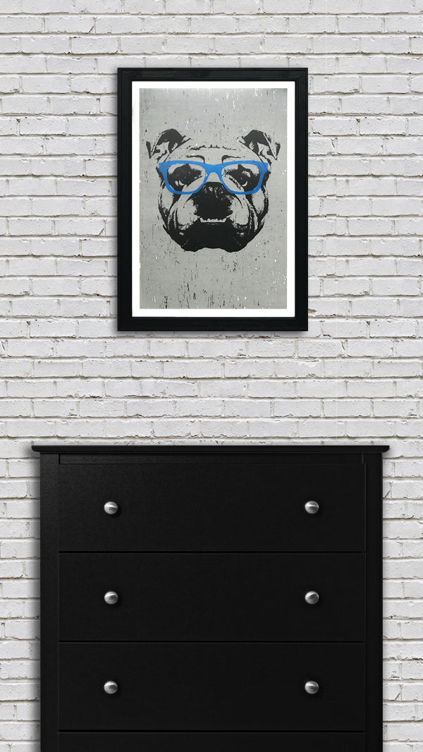 english bulldog art poster