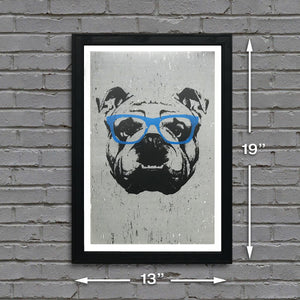 english bulldog print showing dimensions