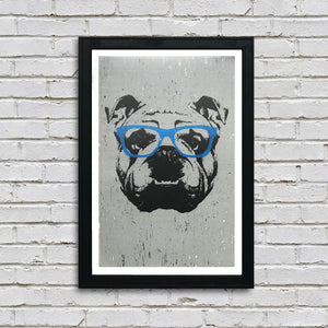 english bulldog art poster with blue glasses