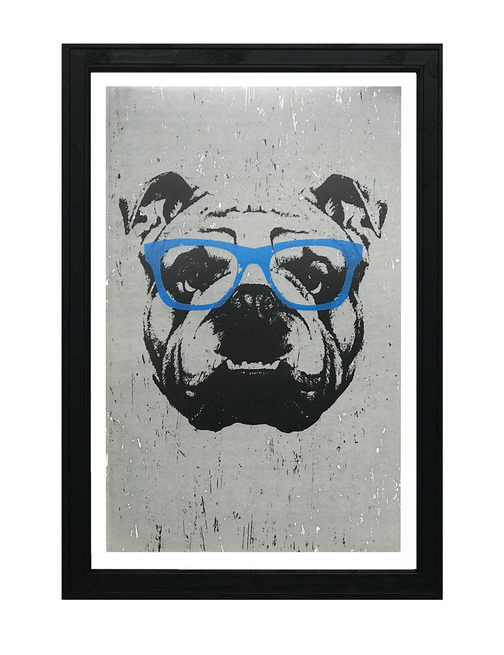English Bulldog with Blue Glasses Art Print / Poster - 13x19""