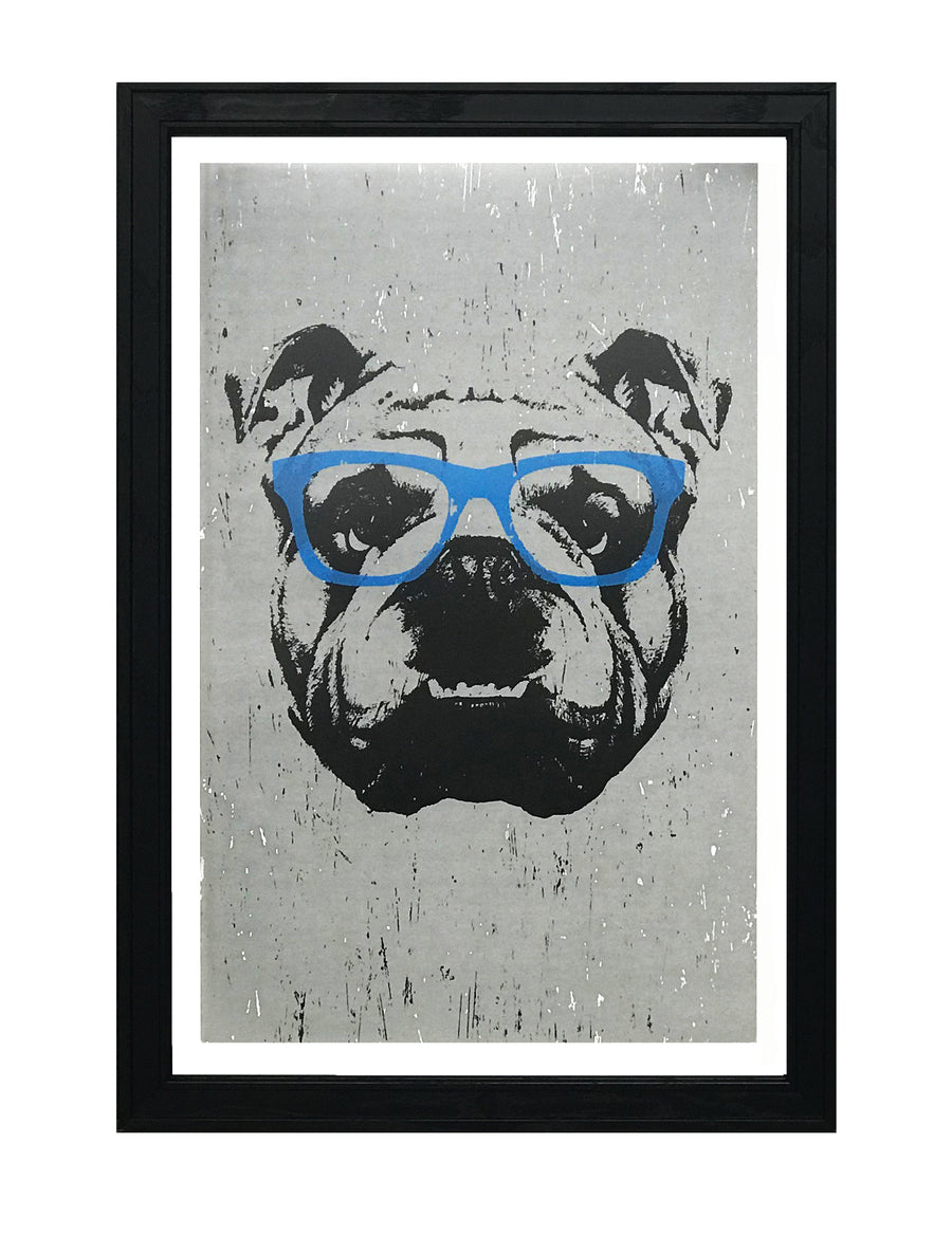 English Bulldog Art Poster / Print with Blue Glasses - 13x19""