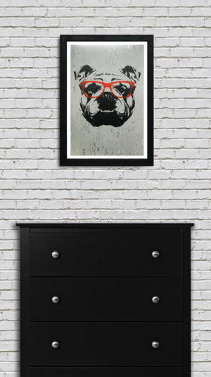 English Bulldog Art Poster with Orange Glasses - 13x19""