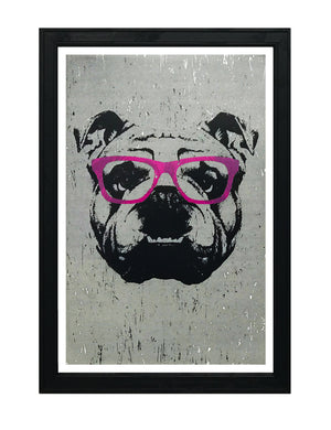 English Bulldog with Pink Glasses Art Print / Poster - 13x19""