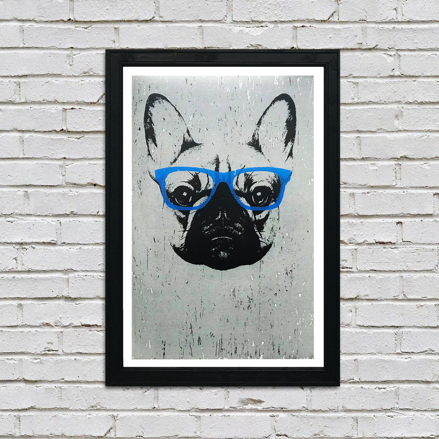 French Bulldog with Blue Glasses Art Poster / Print - 13x19""