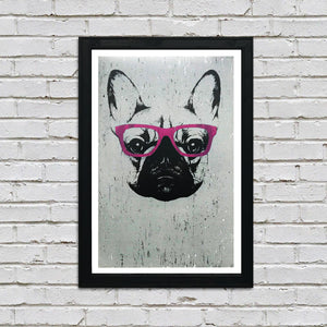 French Bulldog with Pink Glasses Art Poster / Print - 13x19""