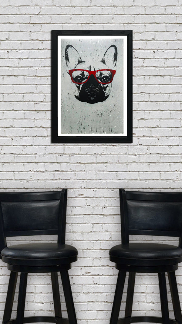 French Bulldog with Red Glasses Art Poster / Print - 13x19""