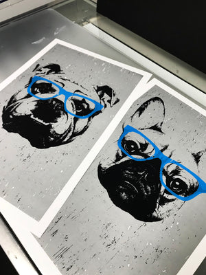 French Bulldog with Blue Glasses Art Print / Poster - 13x19""