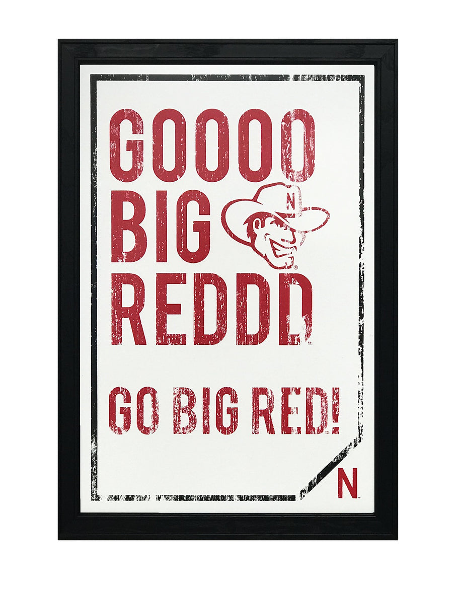 "Nebraska Cornhuskers ""Go Big Red"" College Football Poster Art - 13x19"""