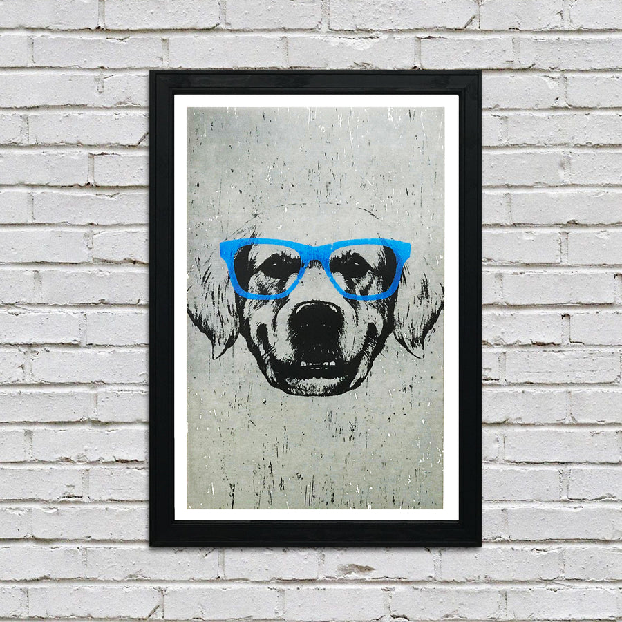 Golden Retriever with Blue Glasses Art Print / Poster - 13x19""