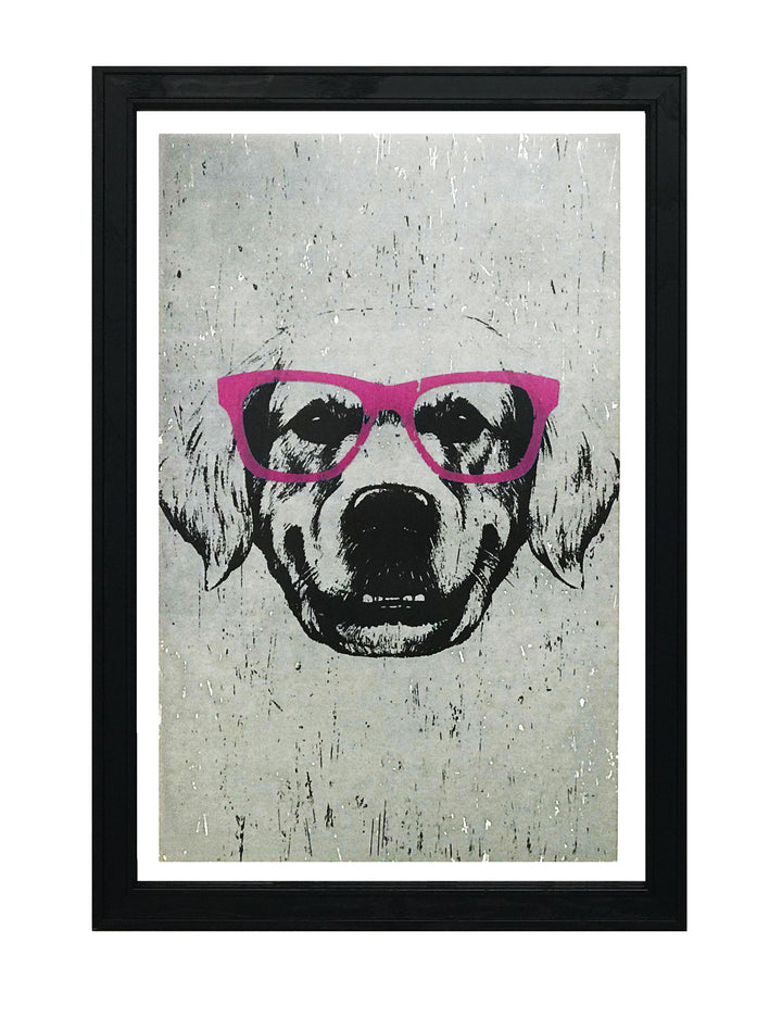Golden Retriever with Pink Glasses Art Poster / Print - 13x19""