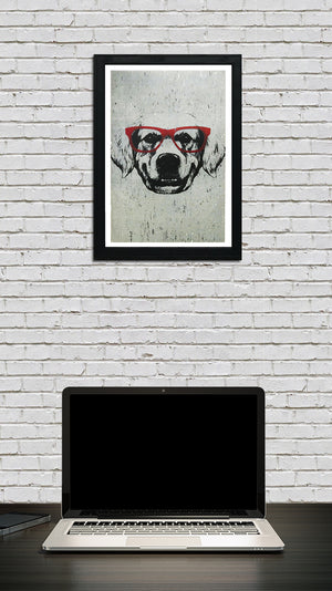 Golden Retriever with Red Glasses Art Poster / Print - 13x19""