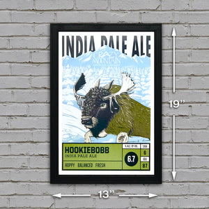 Crazy Mountain Hookiebobb IPA Craft Beer Poster - 13x19""