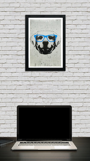 Labrador Retriever with Blue Glasses Art Print / Poster - 13x19""