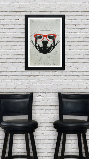 Labrador Retriever with Orange Glasses Art Print / Poster - 13x19""