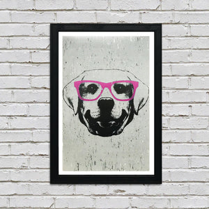 Labrador Retriever with Pink Glasses Art Print / Poster - 13x19""