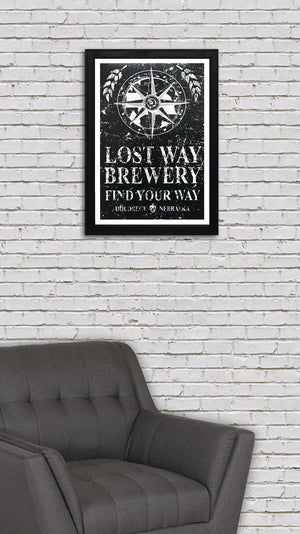 Lost Way Brewery - Craft Beer Poster - Black - 13x19""