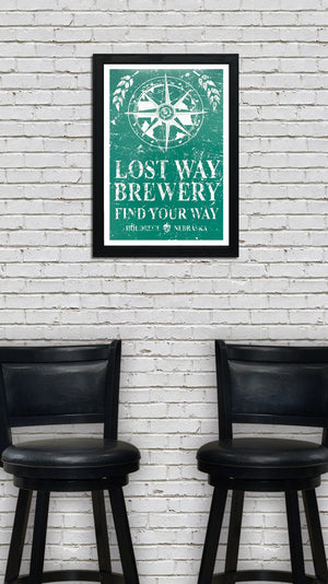 Lost Way Brewery - Craft Beer Poster - Emerald Green - 13x19""