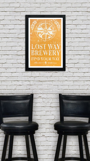 Lost Way Brewery - Craft Beer Poster - Harvest Yellow - 13x19""