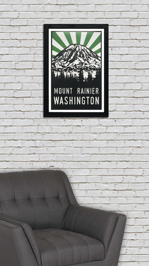 Mount Rainier Art Poster - Green and Black - 13x19""