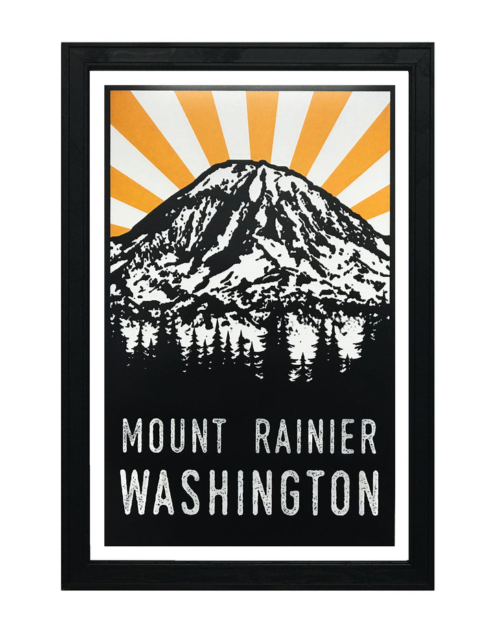 Mount Rainier Poster Art - Yellow and Black - 13x19""