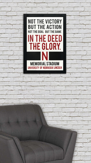 "Nebraska Cornhuskers ""In The Deed The Glory"" College Football Poster Art - 13x19"""