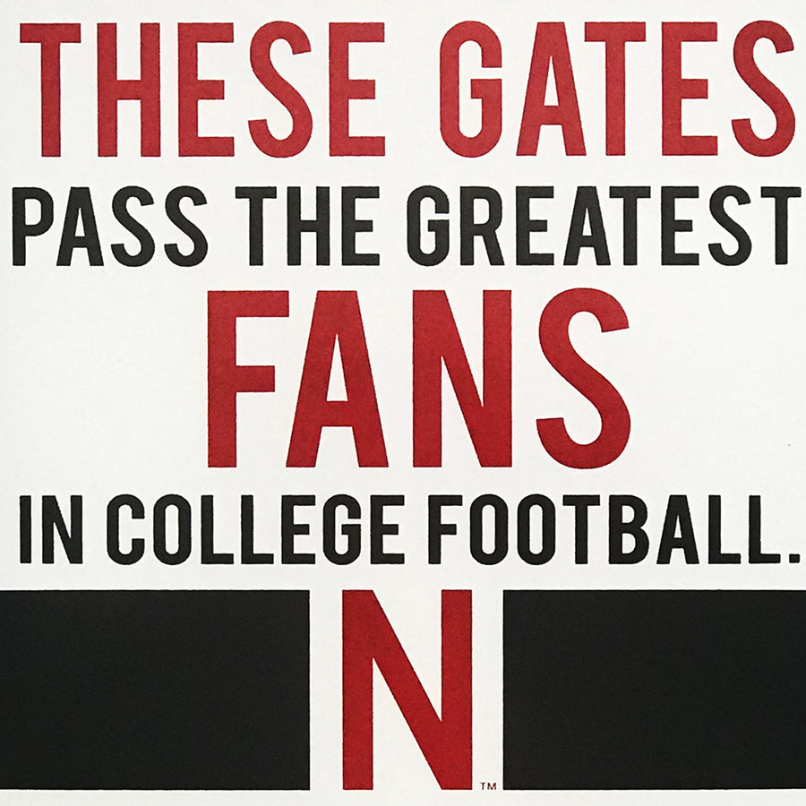 "Nebraska Cornhuskers ""Through These Gates"" College Football Poster Art - 13x19"""