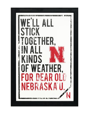 Dear Old Nebraska U. University of Nebraska Cornhuskers Poster Art - 13x19""