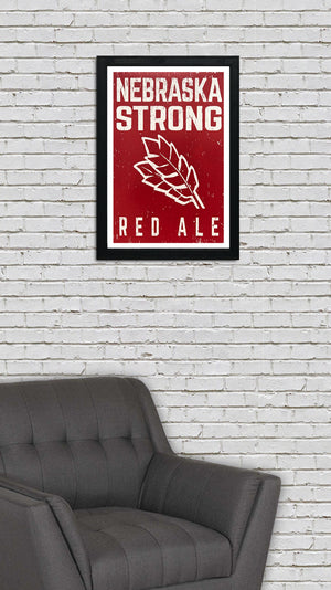 Nebraska Strong Red Ale Craft Beer Poster - Red - 13x19""