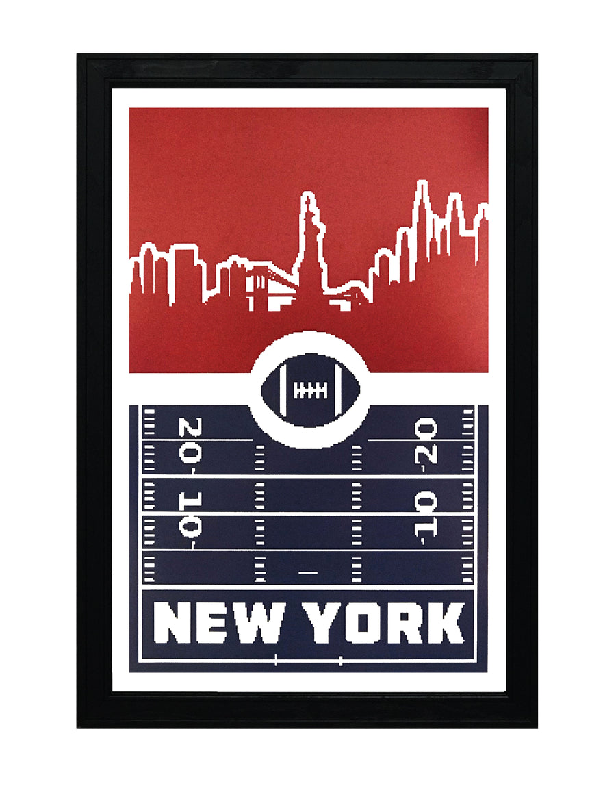 New York Giants Poster Art - Retro Print 13x19""