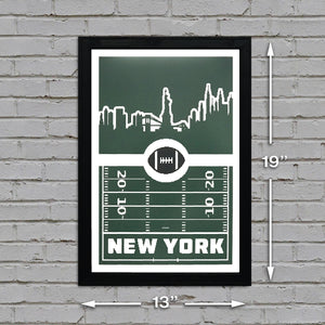 New York Jets Poster Art - Retro Print 13x19""