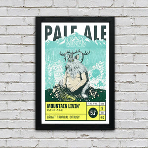 Crazy Mountain Mountain Livin' Pale Ale Craft Beer Poster - 13x19""