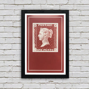 Penny Red Postage Stamp Art Poster - 13x19""