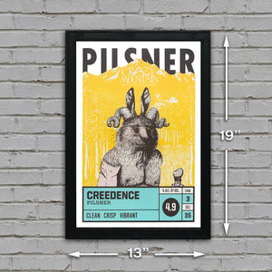 Crazy Mountain Creedence Pilsner Craft Beer Poster - 13x19""