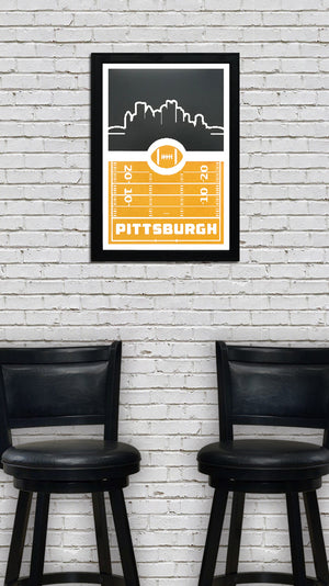 Pittsburgh Steelers Poster Art - Retro Video Game Style - 13x19""