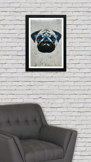 Pug Art Poster with Blue Glasses - 13x19""