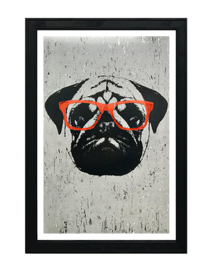 Pug Poster Art Print with Orange Glasses - 13x19""