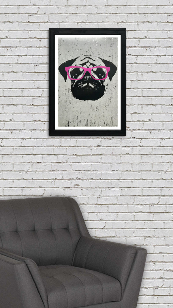 Pug Art Poster with Pink Glasses - 13x19""